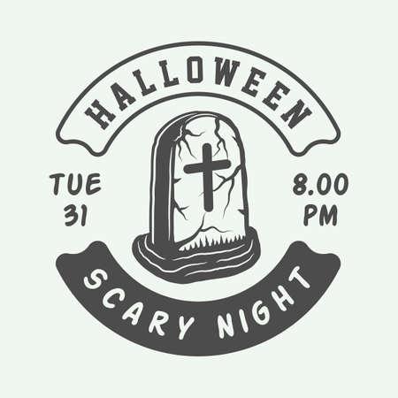 Vintage retro halloween logo, emblem, badge, label, mark, patche Monochrome Graphic Art Illustration Vector