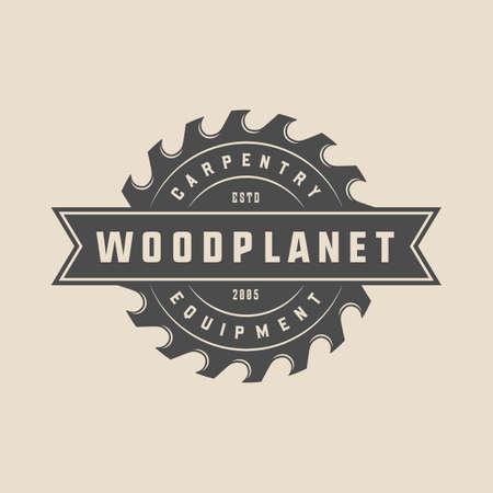 Vintage Tischlerei, Holzarbeiten und mechanisches Etikett, Abzeichen, Emblem und Logo. Vektor-Illustration. Monochrome grafische Kunst. Logo