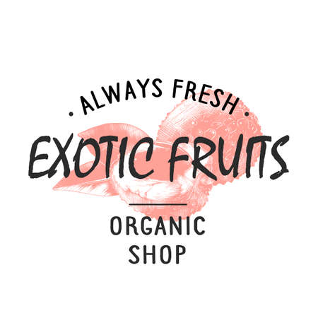 Vintage style shop label, badge, emblem, logo with hand drawn sketch of lychees fruit. Colorful graphic art with engraved design element in monochrome isolated on white background. Banque d'images - 112103294