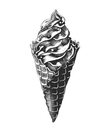 Vector engraved style illustration for posters, decoration and print. Hand drawn sketch of ice cream cone with a splash, monochrome isolated on white background. Detailed vintage woodcut style Stock Illustratie