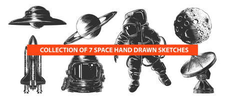 Vector engraved style space or cosmic collection for posters, decoration and print. Hand drawn sketches of in monochrome isolated on white background. Detailed vintage woodcut style drawing. Illustration