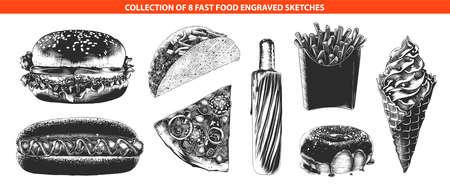 Vector engraved style fast food menu collection for posters, decoration, logo, emblem. Hand drawn sketches of in monochrome isolated on white background. Detailed vintage woodcut style drawing.
