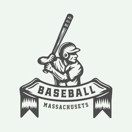 Vintage Baseball-Sport-Logo, Emblem, Abzeichen, Marke, Etikett. Monochrome grafische Kunst. Illustration. Vektor.