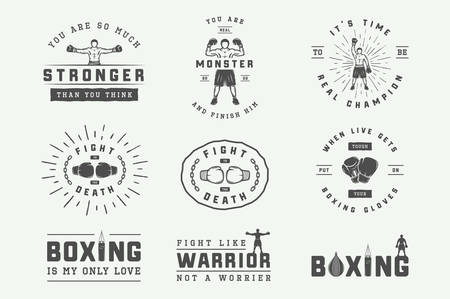 Boxing and martial arts logo badges and labels in vintage style. Motivational posters with inspirational quotes. Vector illustration Illusztráció