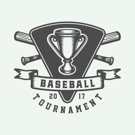 Vintage baseball sport  emblem, badge, mark, label. Monochrome Graphic Art. Illustration. Vector.
