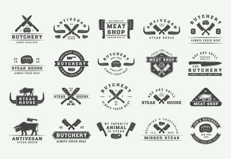 Set di carne da macelleria vintage, emblemi di bistecca o barbecue, distintivi, etichette. Arte grafica. Illustrazione. Vettore