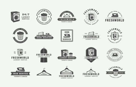 Set of retro cleaning badges, emblems and labels in vintage style. Monochrome Graphic Art. Vector Illustration.