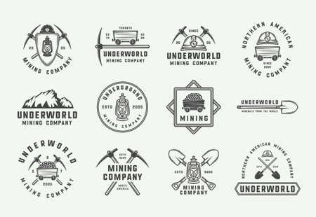 Conjunto de insignias, emblemas y etiquetas de minería o construcción retro en estilo vintage. Arte gráfico monocromático. Ilustración de vector. Ilustración de vector