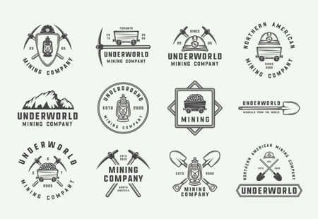 Set of retro mining or construction badges, emblems and labels in vintage style. Monochrome Graphic Art. Vector Illustration. Vektorové ilustrace
