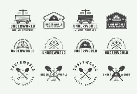 Set of retro mining or construction badges, emblems and labels in vintage style. Monochrome Graphic Art. Vector Illustration.