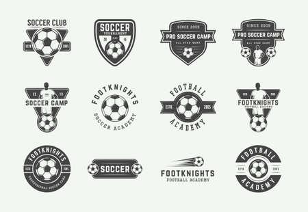 Set of vintage soccer or football   emblem, badge. Vector illustration. Graphic Art.