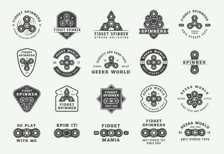 Set of vintage fidget spinners   emblems, badges and motivational posters. Monochrome Graphic Art. Vector Illustration. Ilustração