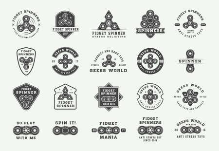 Set of vintage fidget spinners   emblems, badges and motivational posters. Monochrome Graphic Art. Vector Illustration. Illustration