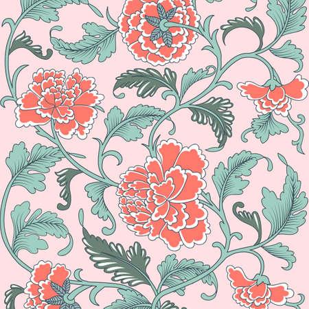 Ornamentale bellissimo colore corallo antico motivo floreale con peonie. Illustrazione vettoriale, trama asiatica per la stampa su imballaggi, tessuti, carta, copertine, produzione, sfondi. Vettoriali