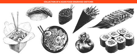 Vector engraved style asian food collection for posters, decoration and print, logo. Hand drawn sketches of monochrome isolated on white background. Detailed vintage woodcut style drawing.