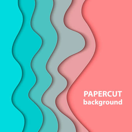 Vector background with pastel coral and turquoise color paper cut shapes. 3D abstract paper art style, design layout for business presentations, flyers, posters, prints, cards, brochure cover.