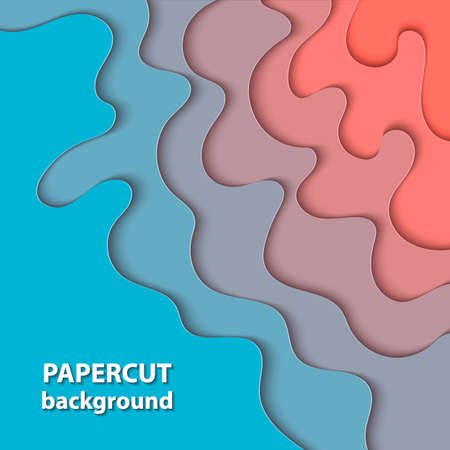 Vector background with pastel coral and blue color paper cut shapes. 3D abstract paper art style, design layout for business presentations, flyers, posters, prints, cards, brochure cover. Иллюстрация
