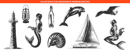 Vector engraved style romantic sea collection for posters, decoration and print  Hand drawn sketches of in monochrome isolated on white background. Detailed vintage woodcut style drawing.