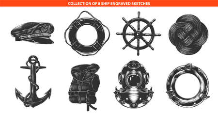 Vector engraved style sea ship collection for posters, decoration and print Hand drawn sketches of in monochrome isolated on white background. Detailed vintage woodcut style drawing.