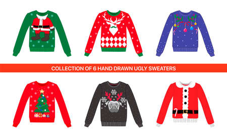 Collection of 6 traditional Christmas Party colorful ugly vector sweater with reindeer, dog, deer, Santa costume, Xmas tree and toys for decoration, posters, prints Illustration