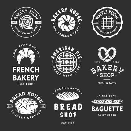 Set of vintage style bakery shop labels, badges, emblems and logo. White graphic art with engraved design elements. Collection of linear graphic on dark background.