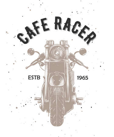 Vector card with hand drawn unique typography design element for greeting cards, t-shirt design, logo, decoration, prints and posters. Cafe racer with engraved sketch of motorcyrcle.