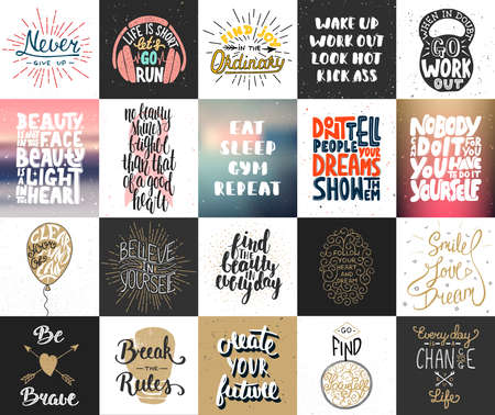 Set of 20 vector motivational and inspirational lettering posters, greeting cards, decoration, prints, t-shirt design. Hand drawn typography. Handwritten lettering. Modern ink brush calligraphy.