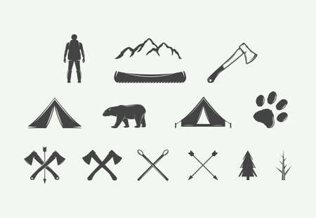 Set of vintage camping outdoor and adventure elements. Can be used logos, badges, labels, emblems, marks and design elements. Graphic Art. Vector Illustration. Illustration