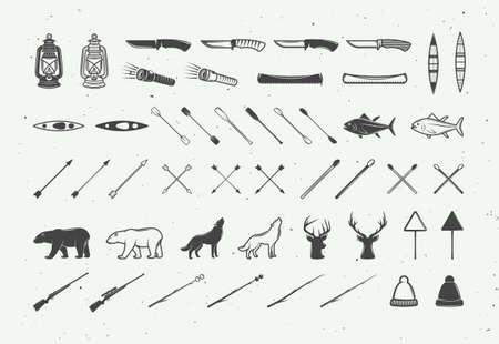 Set of vintage camping outdoor and adventure elements. Can be used logos, badges, labels, emblems, marks and design elements. Graphic Art. Vector Illustration. Ilustração