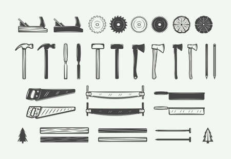 Set of vintage carpentry, woodwork design elements. Can be used for labels, badges, emblems . Vector illustration. Monochrome Graphic Art.