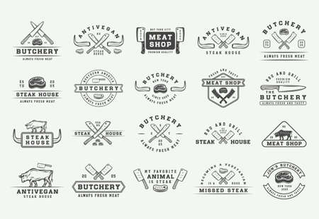 Set of vintage butchery meat, steak or bbq logos, emblems, badges, labels. Graphic Art. Illustration. Vector - Vector