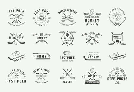 Set of vintage hockey emblems, logos, badges, labels and design elements. Graphic Art. Vector Illustration. - Vector