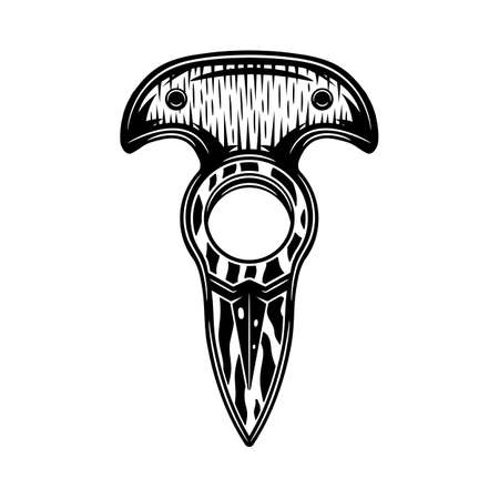 Vintage retro knuckle knife. Graphic Art. Vector Illustration. Ilustração