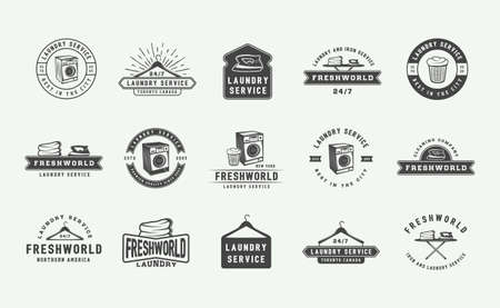 Set of retro cleaning logo badges, emblems and labels in vintage style. Monochrome Graphic Art. Vector Illustration.