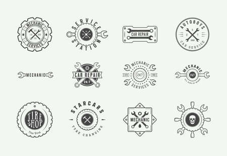 Set of vintage mechanic label, emblem, badge and logo. Vector illustration. Graphic Art - Vector - Vector