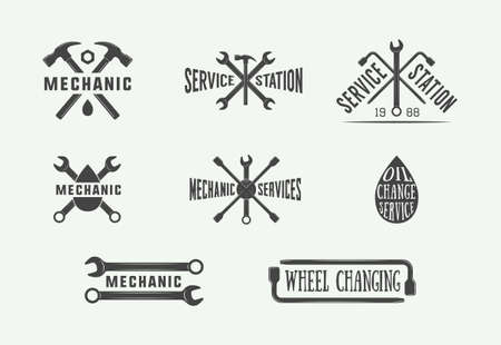 Set of vintage mechanic label, emblem, badge and logo. Vector illustration. Graphic Art