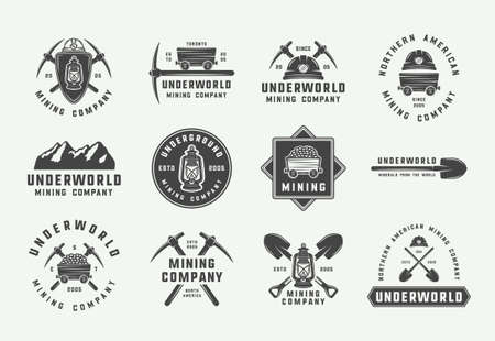 Zestaw retro logo górnictwa lub budownictwa, odznaki, emblematy i etykiety w stylu vintage. Grafika monochromatyczna. Ilustracja wektorowa. Logo