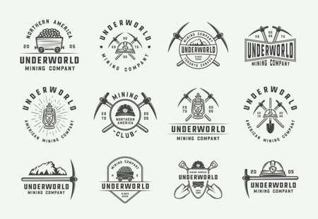 Ensemble de logos, badges, emblèmes et étiquettes d'exploitation minière ou de construction rétro de style vintage. Art graphique monochrome. Illustration vectorielle.