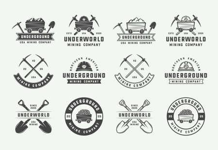 Set di loghi, distintivi, emblemi ed etichette di estrazione mineraria o di costruzione retrò in stile vintage. Arte grafica monocromatica. Illustrazione di vettore.