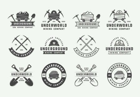 Set retro mijnbouw of bouw logo's, badges, emblemen en labels in vintage stijl. Monochroom grafische kunst. Vectorillustratie.