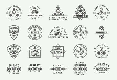 Set of vintage fidget spinners emblems, badges and motivational posters. Monochrome Graphic Art. Vector Illustration.