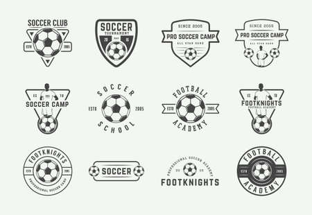 Set of vintage soccer or football emblem, badge. Vector illustration. Graphic Art.