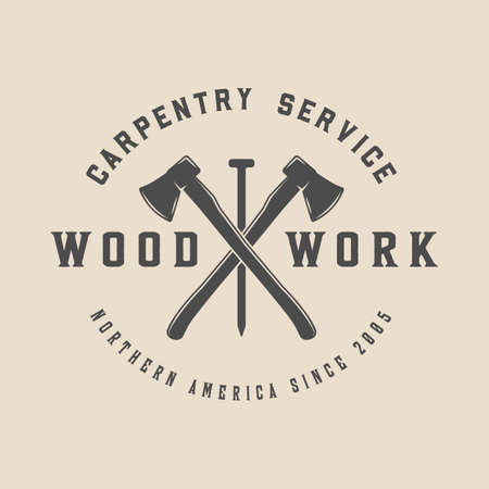 Vintage carpentry,woodwork and mechanic label, badge, emblem .  Monochrome Graphic Art