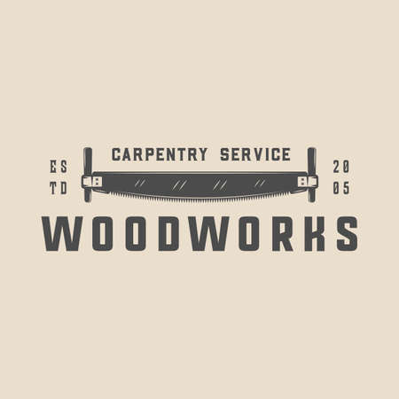 Vintage carpentry, woodwork and mechanic label, badge, emblem .  Monochrome Graphic Art Ilustração