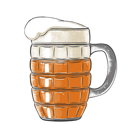 Vector engraved style illustration for posters, decoration, menu,  and print. Hand drawn sketch of glass of beer in colorful isolated on white background. Detailed vintage woodcut style drawing.