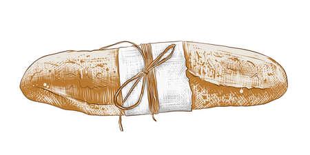 Illustration vectorielle de style gravé pour les affiches, la décoration et l'impression. Croquis dessiné main de baguette française colorée isolée sur fond blanc. Dessin détaillé de style gravure sur bois vintage. Vecteurs