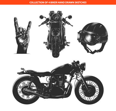 Vector engraved style moto biker set for posters, decoration and print. Hand drawn sketches collection in monochrome isolated on white background. Detailed vintage woodcut style drawing.