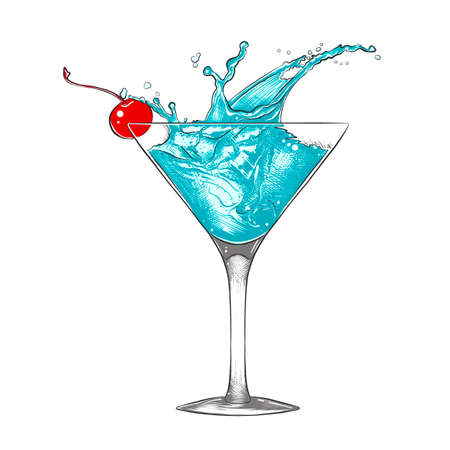 Vector engraved style illustration for posters, decoration and print. Hand drawn sketch of blue  cocktail with splashes, colorful isolated on white background. Detailed vintage woodcut style