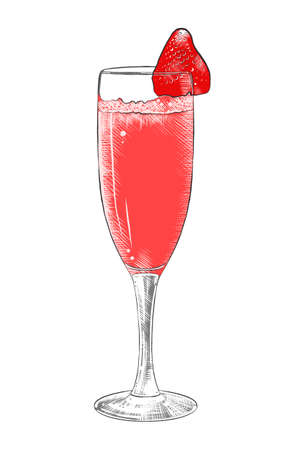 Vector engraved style illustration for posters, decoration, menu and print. Hand drawn sketch of champagne with strawberry, colorful isolated on white background. Detailed vintage woodcut style Ilustração