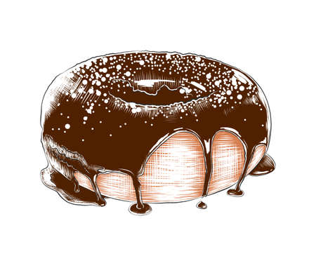 Vector engraved style illustration for posters, decoration, menu, packaging and print. Hand drawn sketch of colorful donut isolated on white background. Detailed vintage woodcut style drawing.